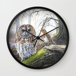 The Messenger - Acrylic Painting - Owl and Robin Wall Clock