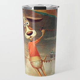 Dog with an umbrella, a small fish and a cat in sky. Travel Mug