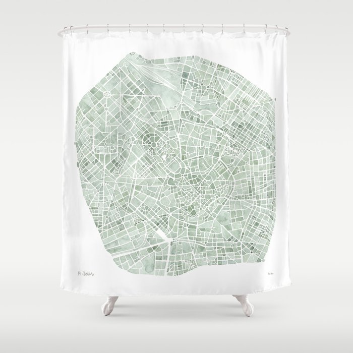 Milan Italy watercolor map Shower Curtain by aemcdraw | Society6