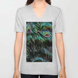 Soft and Fluffy Colorful Peacock Feathers Unisex V-Neck
