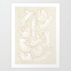 Eleven Sleepy Cat Art Print