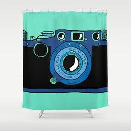 Blue Leica Shower Curtain