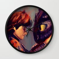 hiccup Wall Clocks featuring You're My Best Friend by apfelgriebs
