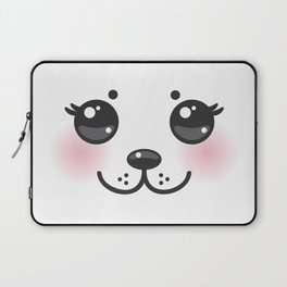 Kawaii funny albino animal white muzzle with pink cheeks and big black eyes Laptop Sleeve