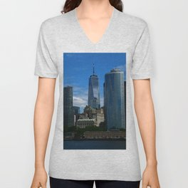 Manhattan View From Hudson River Unisex V-Neck