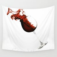 carpe Wall Tapestries featuring Carpe Vinum by Xchange Art Studio