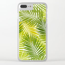 Palm leaf silhouettes seamless pattern. Tropical leaves. Clear iPhone Case