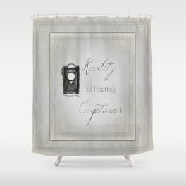 Reality is Fleeting ~ Sketched Camera ~ Ginkelmier Inspired Shower Curtain