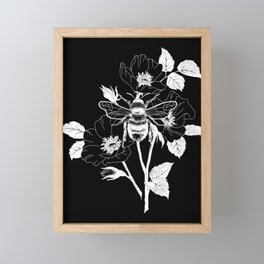 Save the bees black Framed Mini Art Print