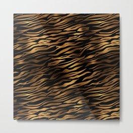 Gold and black metal tiger skin Metal Print