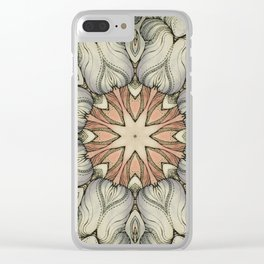 abstract flowers hand drawn and  kaleidoscope mandala Clear iPhone Case