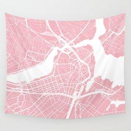 Boston, Massachusetts, City Map - Pink Wall Tapestry