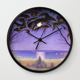 Moonlight on a Coastal Bay landscape painting by Harald Sohlberg Wall Clock