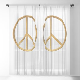 PEACE Symbol – 60th Birthday 21 Feb. 2018 Sheer Curtain
