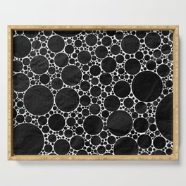 Modern Black and WHITE Textured Bubble Design Serving Tray