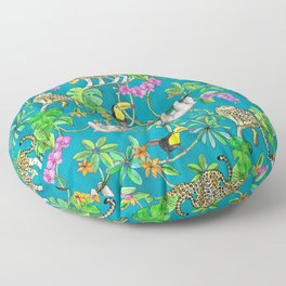 Rainforest Friends - watercolor animals on textured teal Floor Pillow