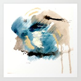 You are an Ocean - abstract India Ink & Acrylic in blue, gray, brown, black and white Kunstdrucke