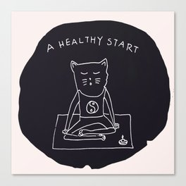 Relax Cat, A Healthy Start, Meditation Canvas Print