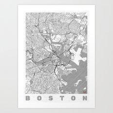 Boston Map Line Art Print