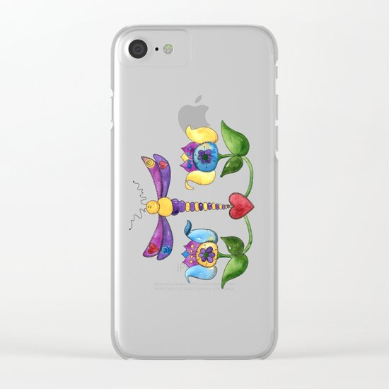 Dragonfly Love with Border Clear iPhone Case