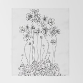 Floral Flytraps Throw Blanket