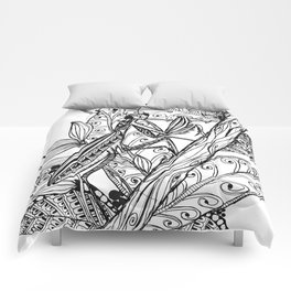 Praying Mantis in Ink Comforters