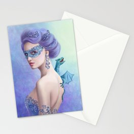 Fantasy winter woman, beautiful snow queen in mask with blue dragon Stationery Cards