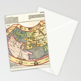 Vintage Map Print - 1493 map of the world by Hartmann Schedel Stationery Cards