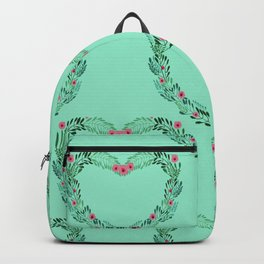 Heart Wreath Hand-painted in Green Ferns and Pink Blossoms on Aqua Backpack