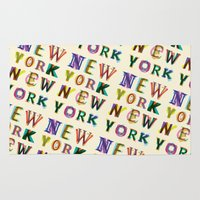 new york Area & Throw Rugs featuring New York New York by Fimbis