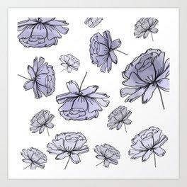 Hand Drawn Peonies Lilac Art Print