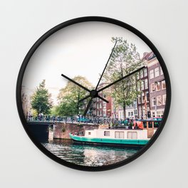 Amsterdam House Boats on Canal | Europe City Travel Urban Landscape Photography Wall Clock