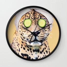 Leopard in a Towel Wall Clock