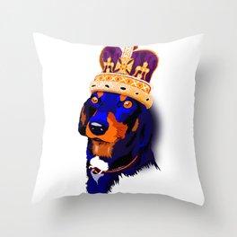 Wiener Dog King Throw Pillow