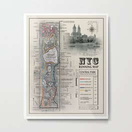 "NYC's Central Park [Black and White] ""San Remo"" Running route map Metal Print"