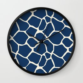 Giraffe Pattern Animal Print (navy) Wall Clock