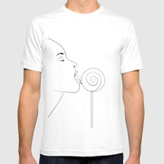Delicious! SMALL White Mens Fitted Tee