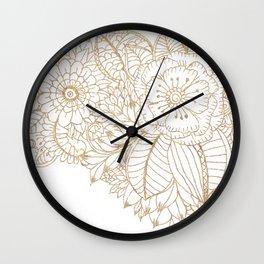 Elegant white faux gold glitter modern floral Wall Clock