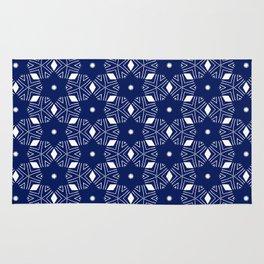 Shibori Stars (white and dark blue) Rug