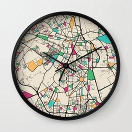 Colorful City Maps: New Delhi, India Wall Clock