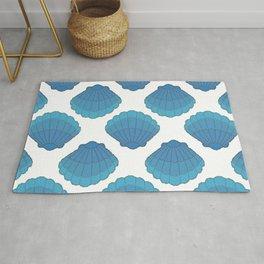 Blue Seashell Mosaic Pattern Rug