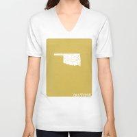 oklahoma V-neck T-shirts featuring Oklahoma Minimalist Vintage Map by Finlay McNevin