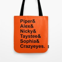 oitnb Tote Bags featuring OITNB Orange Inmates Names by Double Dot Designs