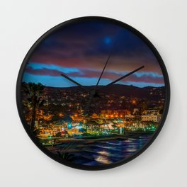 Laguna Beach at Night Wall Clock