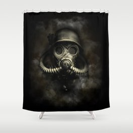 Vintage, soujer, warrior gas mask Shower Curtain