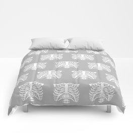 Human Rib Cage Pattern Gray Comforters