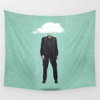 risa rodil Wall Tapestries featuring Head in the Cloud by Vin Zzep