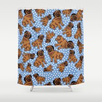 pugs Shower Curtains featuring spotty pugs by lindseyclare