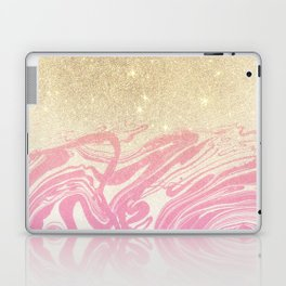 Pink white faux gold glitter modern marble Laptop & iPad Skin