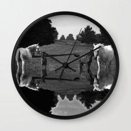 Black & White Arabian Horses Wall Clock